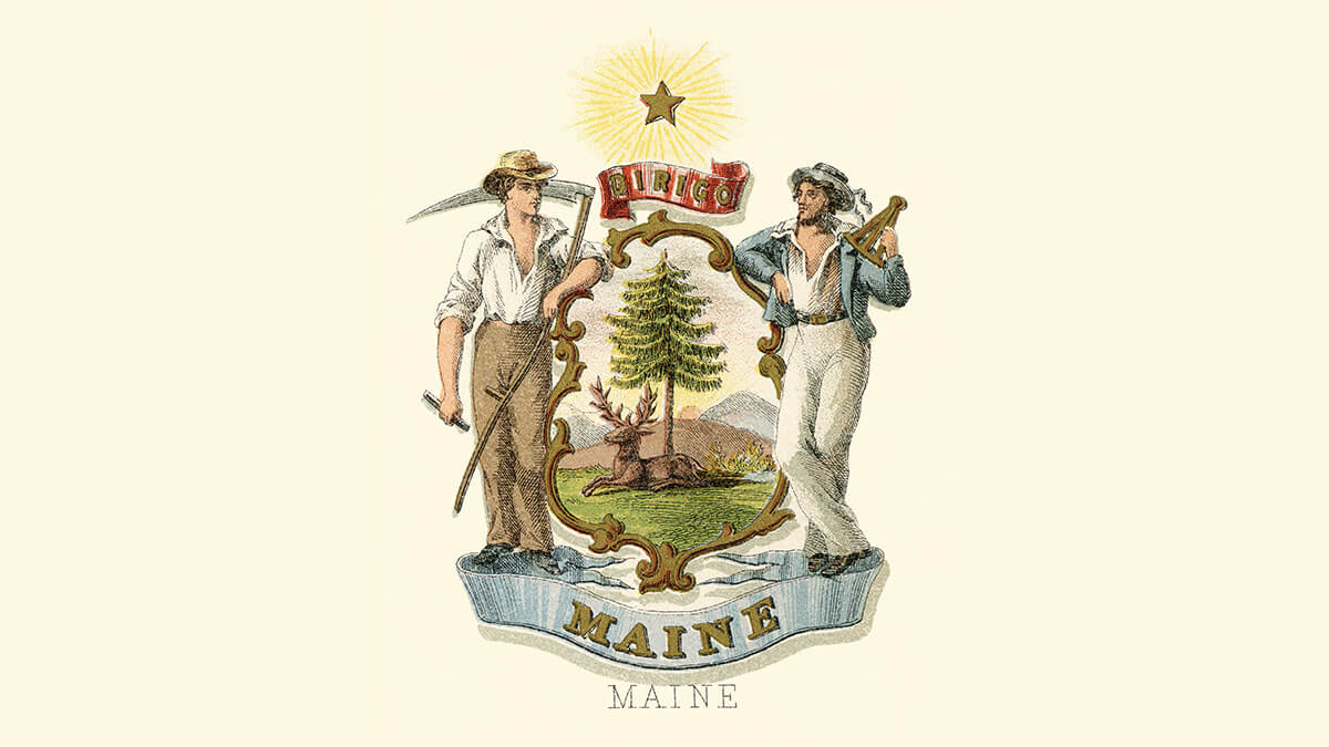 the Maine coat of arms
