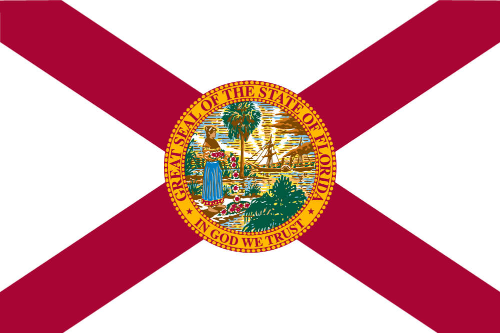 a field of white with a red saltire charged with the state seal featuring a Seminole woman and palmetto tree