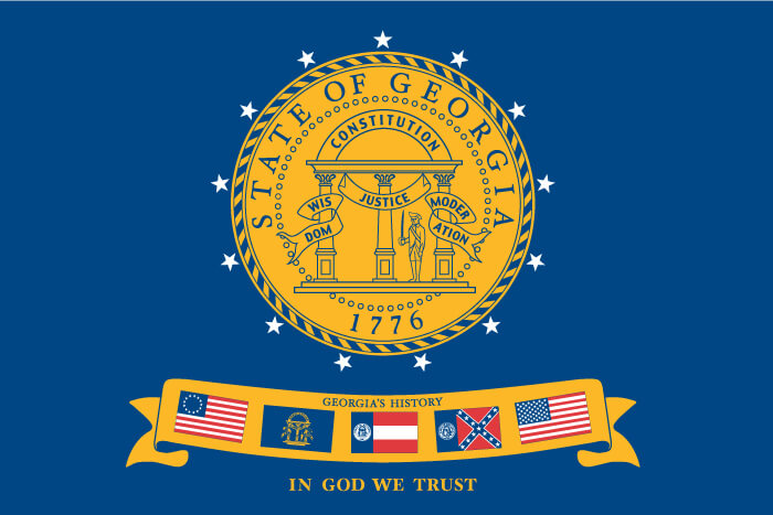 a field of blue charged with the state seal and a banner containing five different flags (previous Georgia flags and U.S. national flags)
