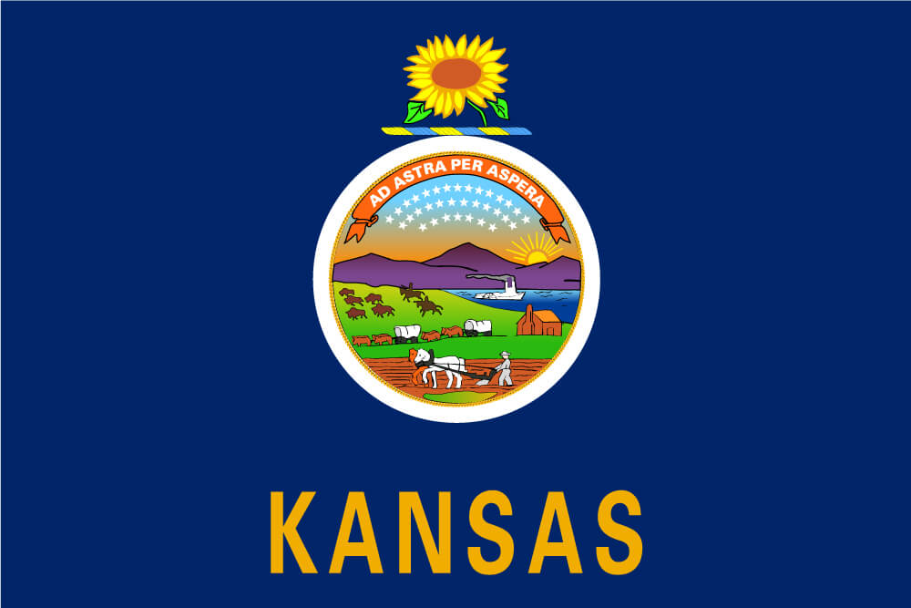 "a field of dark blue charged with the state seal topped with a sunflower crest and ""Kansas"" inscribed below"