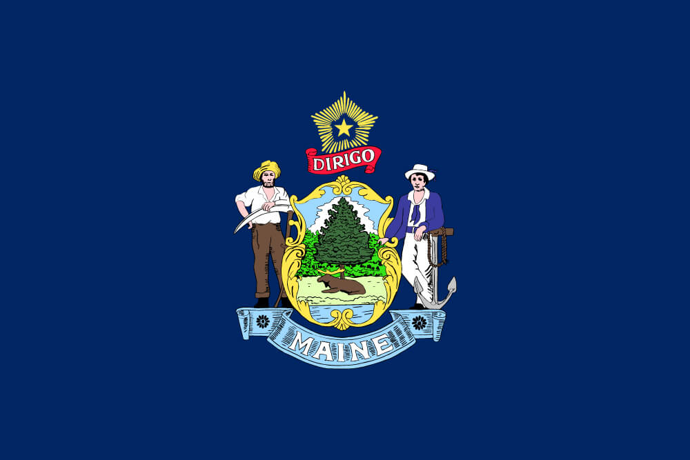 a field of blue charged with the state coat of arms featuring a farmer, sailor, and the north star