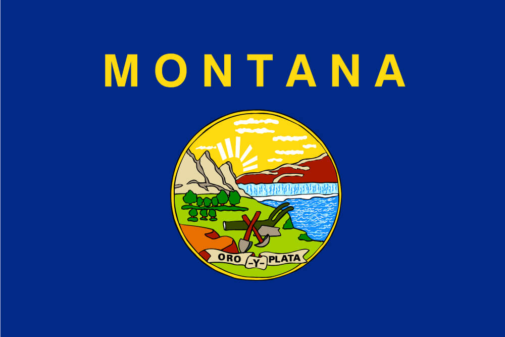 "a field of blue charged with the state seal and the word ""Montana"" inscribed in gold above"
