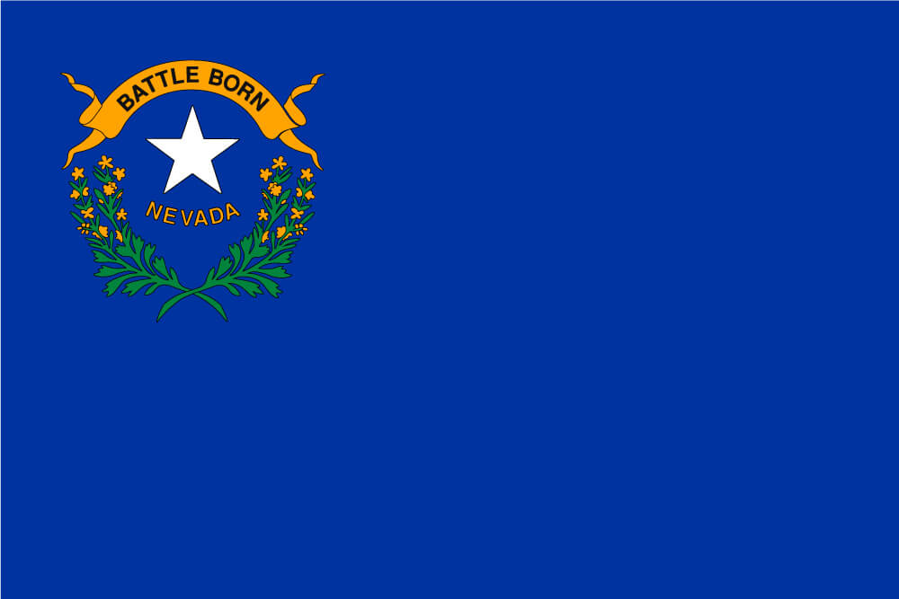 a field of cobalt blue with a state emblem in the canton featuring a white star and sagebrush with gold flowers