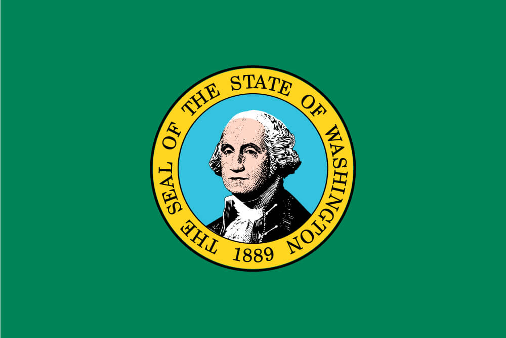 a field of green charged with the state seal featuring a portrait of President George Washington surrounded by a ring of gold