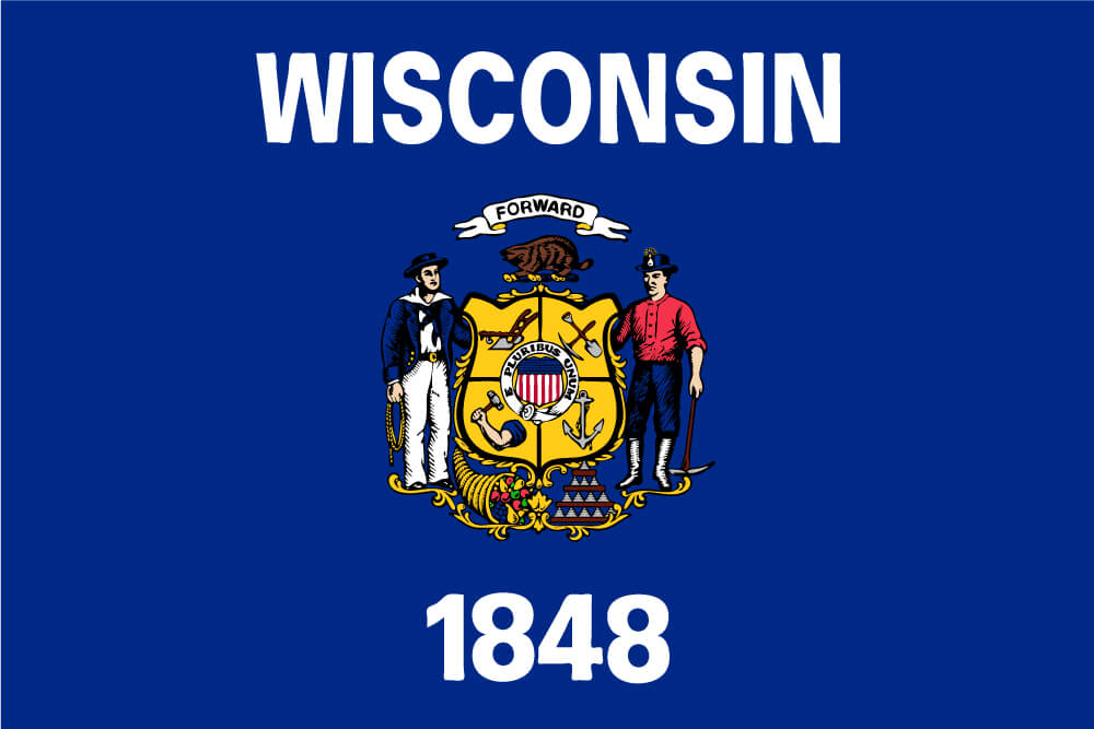 "a field of dark blue charged with the state coat of arms featuring a sailor and a miner; above the seal ""Wisconsin"" is inscribed and ""1848"" is below"